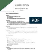 MINISTERIO INFANTIL - Planejamento Anual - 2016