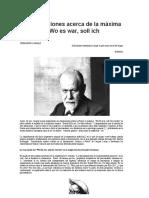 Consideraciones acerca de la maxima freudiana - Wo es War, soll Ich Werden