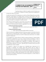 USO CORRECTO DE LOS ELEMENTOS DE PROTECCION PERSONAL ( EPP)