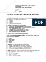 Lista de Exercícios - Aposto e Vocativo (1)