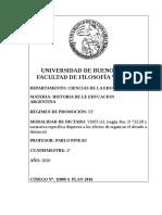 Programa Historia de la educacion argentina Prof Pineau