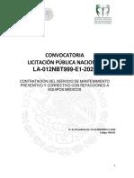 Convocatoria LPN Servicio de Mantenimiento de Equipo Medico