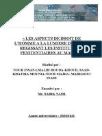 Les aspects de Droit de l'homme à la lumiére de la loi régissant les institutions pénitentiares au maroc