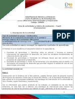 Guia de Actividades y Rúbrica de Evaluación - Unidad 3 - Fase 3 - Formulación