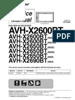 Pioneer Avh-x2600bt x2650bt x2690bt Crt5435 Car Dvd Receiver