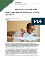 Como Desenvolver a Autonomia Das Criancas No Ensino Remoto Ou Hibridopdf