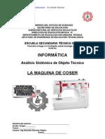 Análisis Sistémico de Objeto Técnico La Maquina de Coser