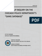 """FOLLOW-UP INQUIRY ON THE CHICAGO POLICE DEPARTMENT'S """"GANG DATABASE"""""""