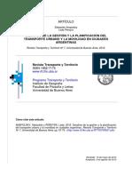 Anaposky y Pereyra (2012) Desafíos de Gestión de Transporte Urbano y Movilidad en Ciudades Argentinas