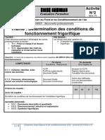Thème _ Détermination des conditions de fonctionnement frigorifique (1)
