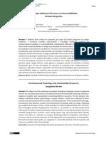 Psicologia Ambiental e Recursos Em Sustentabilidade Revisão Integrativa