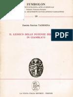 Daniela Patrizia Taormina, Il lessico delle potenze dell'anima in Giamblico