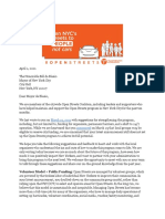 Open Streets Letter to City Hall