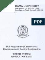 M.E-Electronics and Control Syllabus
