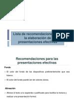 Lista de recomendaciones para la elaboracion de presentaciones efectivas