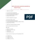 Evaluación acumulativa del primer periodo de matemáticas Grado Tercero