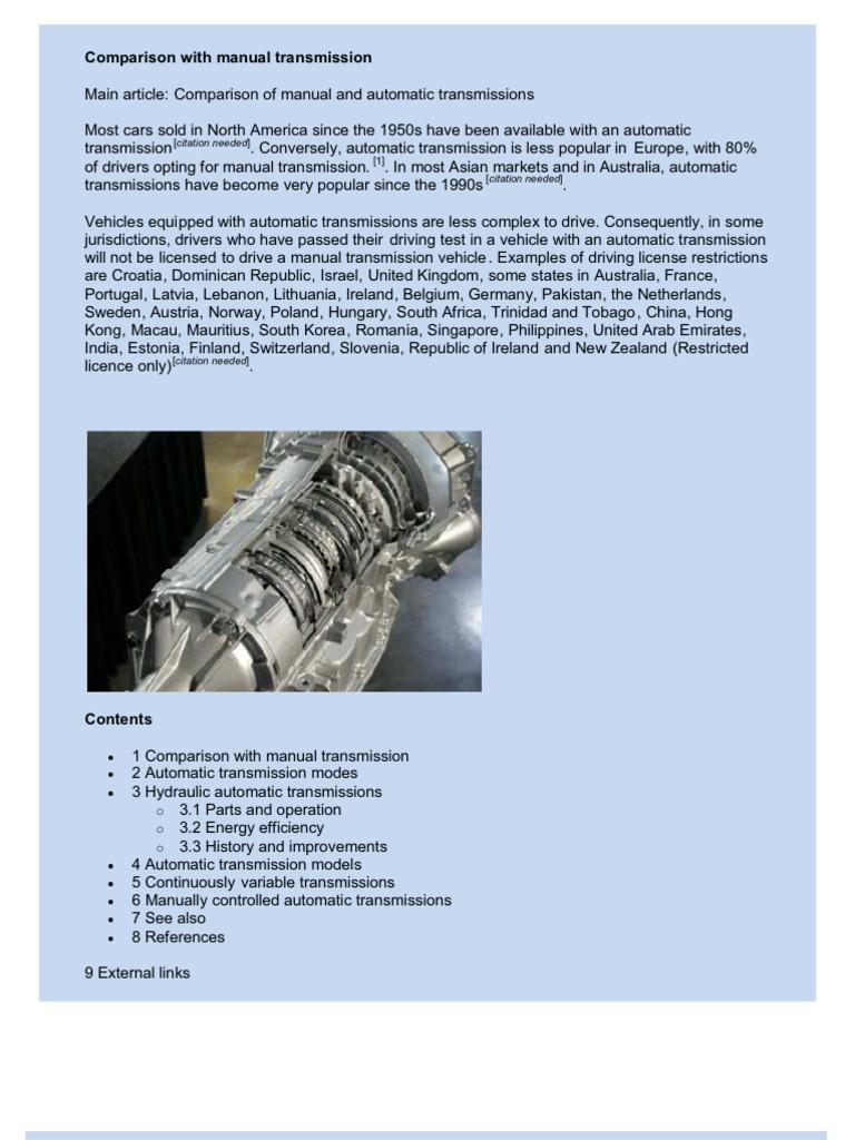 Automatic Trans Mission | Automatic Transmission | Manual Transmission