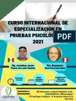 BROCHURE OFICIAL DEL CURSO INTERNACIONAL DE ESPECIALIZACIÓN EN PRUEBAS PSICOLÓGICAS 2021