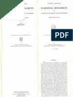 Mohler, Kardinal Bessarion als Theologe, Humanist, Staatsmann, I (Darstellung)