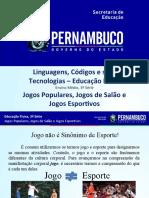 JOGOS POPULARES , JOGOS DE SALÃO E JOGOS ESPORTIVOS