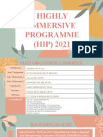 HIGHLY IMMERSIVE PROGRAMME (HIP) 2021