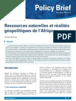ressources naturelles et réalitités géopolitiques en Afrique
