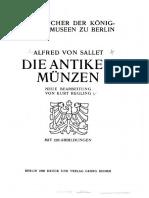 Die antiken Münzen / Alfred von Sallet ; neue Bearb. von Kurt Regling