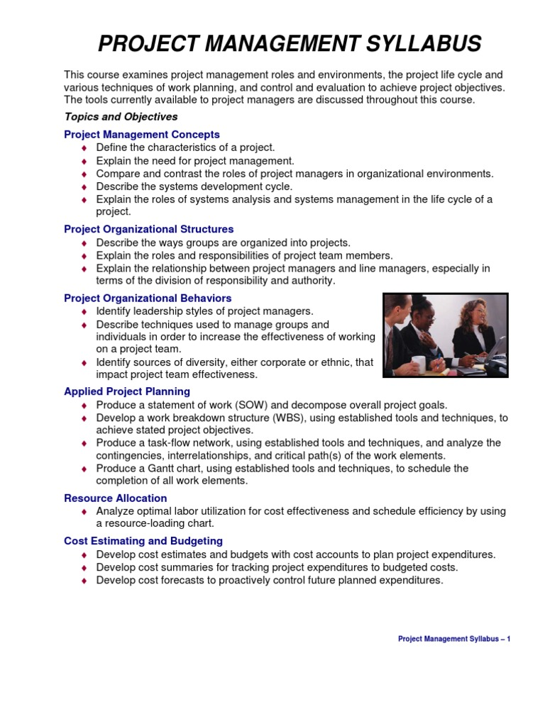 engineering project management syllabus