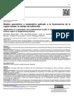 Modelo Geometrico y Matematico Aplicado Biomecanica de Region Lumbar en Haltetas de Halterofilia