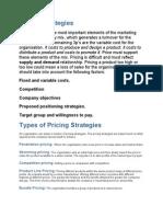 Pricing Strategies