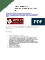 PROCEDIMIENTOS PARA INSCRIPCIÓN DE JUNTA DIRECTIVA EN SUNARP
