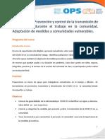 Prevención y control de la transmisión de la COVID-19 durante el trabajo en la comunidad- Adaptación