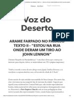"""2_ARAME FARPADO NO PARAÍSO TEXTO II - """"ESTOU NA RUA ONDE DERAM UM TIRO AO JOHN LENNON"""""""