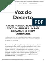 4_ARAME FARPADO NO PARAÍSO TEXTO IV - FUI PARA UM PAÍS DO TAMANHO DE UM CONTINENTE