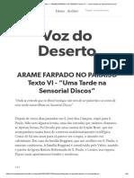 """6_ARAME FARPADO NO PARAÍSO Texto VI -""""Uma Tarde na Sensorial Discos"""""""