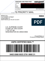 4482f40bb73140bf880793d15d3d8d40_Redacted - redacted mailing label (void/redacted so that it can legally be released as evidence) with certified mail tracking number which is proof of filing to SCOTUS