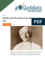 Quando Leone XIII invitava a non collaborare con tutti
