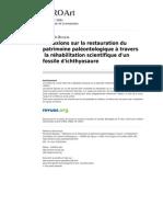 Bosseau, R. Réflexions restauration patrimoine paléontologique. 2009
