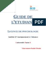 Guide de Létudiant Licence Psychologie 2016-2017