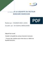 ETUDE DE LA LIQUIDITE DU SECTEUR BANCAIRE MAROCAIN (examen)