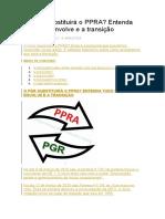 PGR Substituindo o PPRA