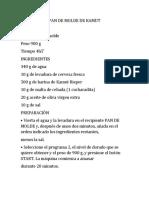 PAN DE MOLDE DE KAMUT - Receta