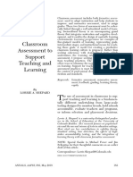 Classroom Assessment to Support Teaching and Learning