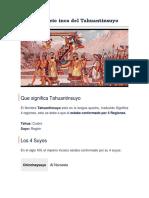 El imperio inca del Tahuantinsuyo