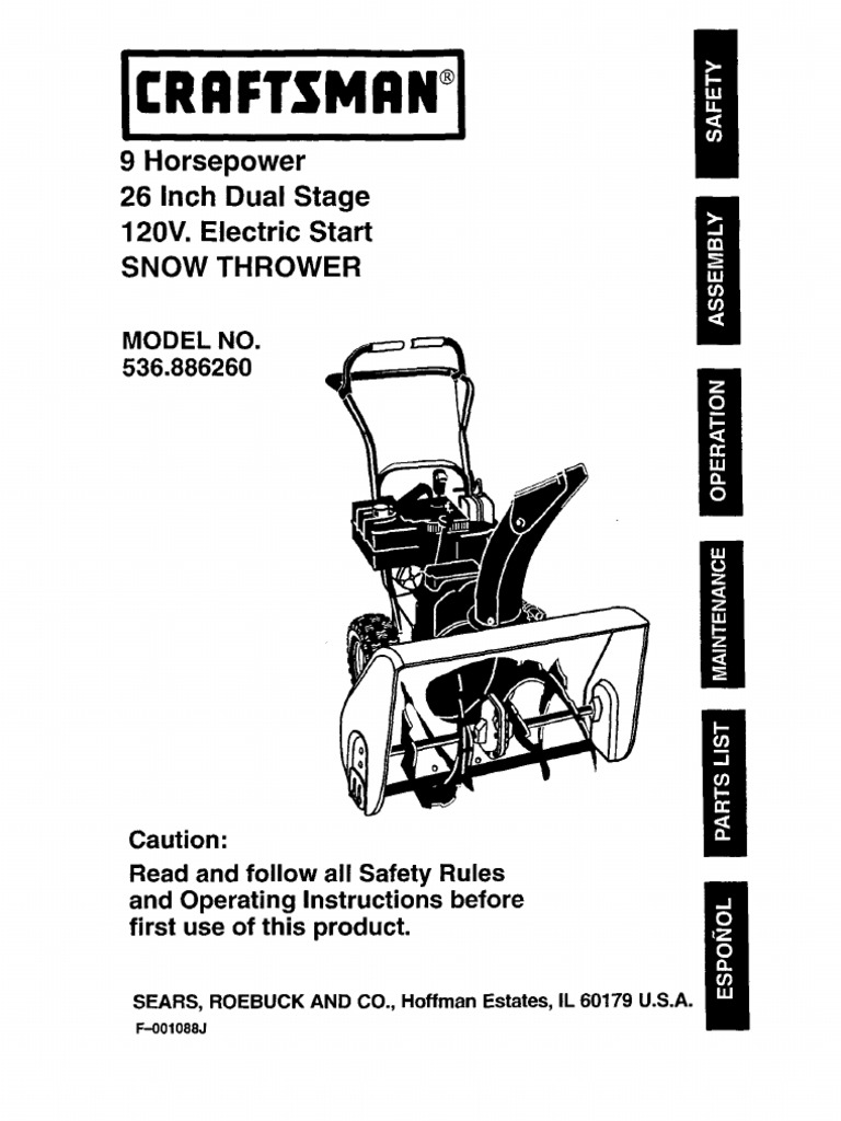 Sears Snowblower Parts Diagram Wiring Craftsman Crafstman 9 Horsepower 26 Inch Dual Stage 120v Electric Manual