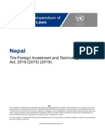 Nepal - Foreign Investment and Technology Transfer Act, 2019 (2075) (English)