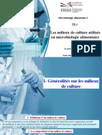 TD 1 Les Milieux de Culture Utilisés en Microbiologie Alimentaire