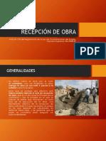 RECEPCIÓN DE OBRA