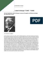 100. Todestag von Jakob Erzberger (*1843 - †1920)