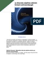 Matemática discreta séptima edición por Richard Johnsonbaugh - 5 estrellas revisión